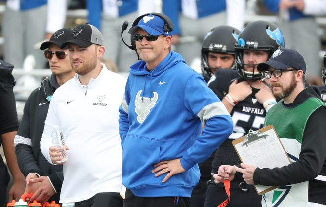 Bulls head coach Lance Leipold watches the play from the sidelines in University at Buffalo Stadium in Amherst on  Oct. 26, 2019. (James P. McCoy/News file photo)