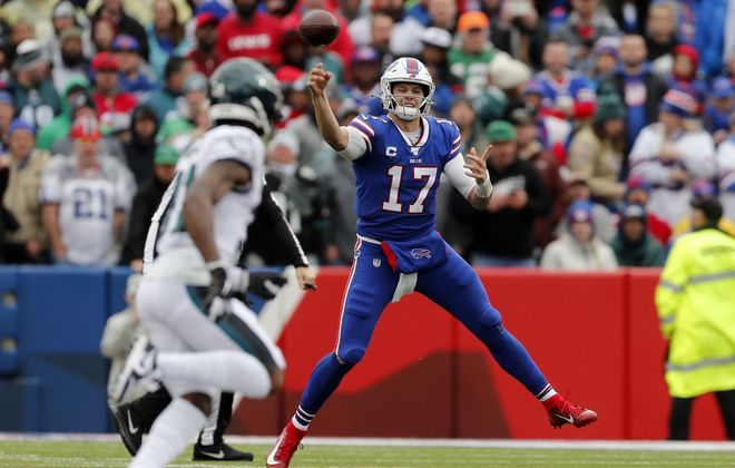 Bills quarterback Josh Allen makes a throw in the first quarter at New Era Field in Orchard Park on Sunday, Oct. 27, 2019. (Mark Mulville/Buffalo News)