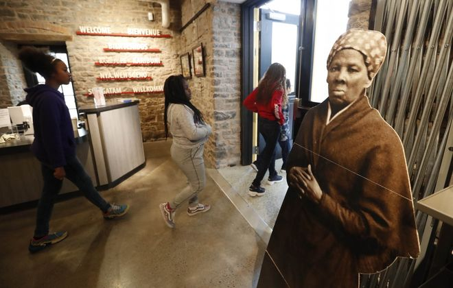 A cutout of Harriet Tubman in the Niagara Falls Underground Railroad Heritage Center. (Sharon Cantillon/Buffalo News)