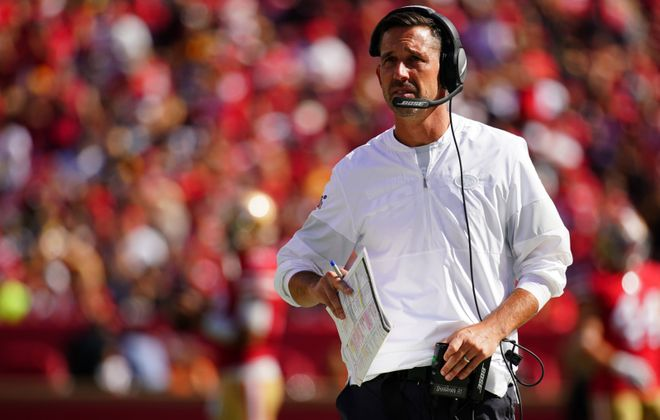 Coach Kyle Shanahan has the 49ers in contention (Daniel Shirey/Getty Images)