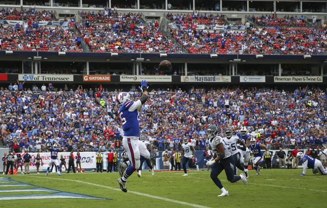 Bills fans in Tennessee got a huge kick out of Lee Smith catching this touchdown pass against the Titans during the 2019 season. (Getty Images)