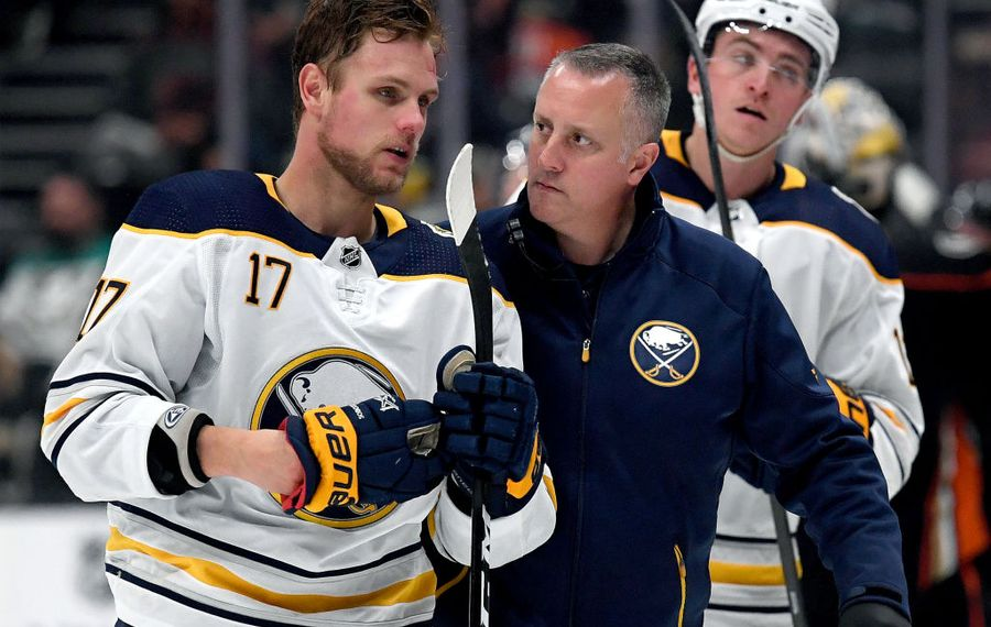 ANAHEIM, CALIFORNIA - OCTOBER 16:  Vladimir Sobotka #17 of the Buffalo Sabres is followed off the ice by medical staff during the second period against the Anaheim Ducks at Honda Center on October 16, 2019 in Anaheim, California. (Photo by Harry How/Getty Images)