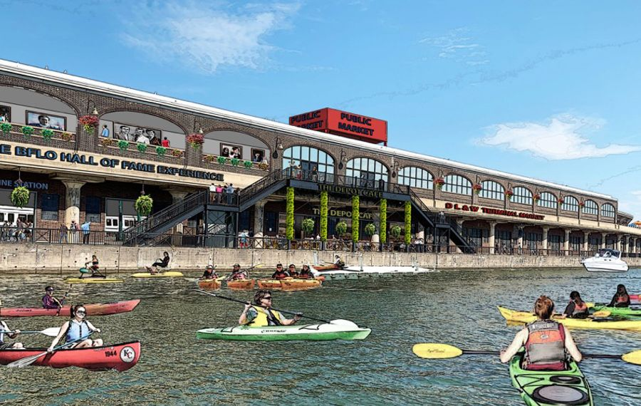 This Savarino Cos. rendering of water access for kayaks and other boats reflects the kind of potential uses envisioned by planners for a revived DL&W terminal.