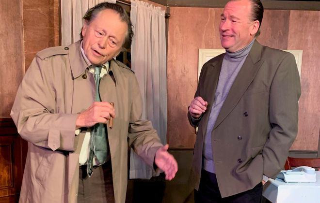 "Jack Hunter captures all the familiar characteristics of Lt. Columbo and Dave Marciniak pours on the charm as possible murder suspect Dr. Flemming in Desiderio Dinner Theatre's production of ""Prescription Murder: Columbo."""