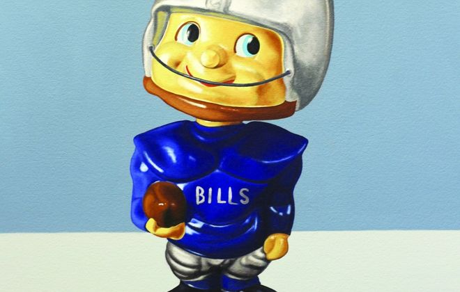 """This is a detail from a painting of a Buffalo Bills bobblehead that is part of the new exhibit """"Superfan!"""" by A.J. Fries at the Buffalo History Museum."""