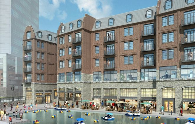 A rendering of Heritage Point, the new mixed-use project proposed for Canalside by developer Nick Sinatra. (Image courtesy of the Buffalo Planning Board)