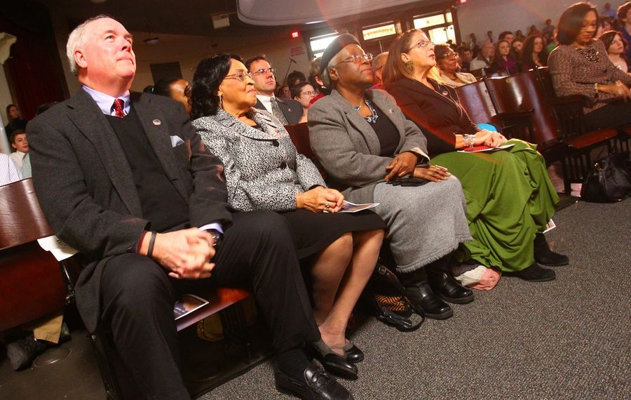 Jim Duggan, a retired City Honors School teacher, left, and Irene McVay, a school aide who founded the Keeping the Dream Alive celebration at City Honors, watch the 2014 event. (John Hickey/News file photo)