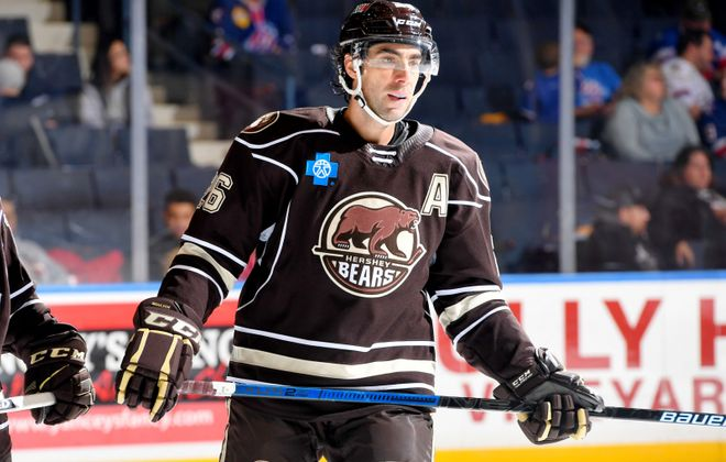 Former Sabres player Matt Moulson is playing with the Hershey Bears in the AHL. (Micheline Veluvolu/Rochester Americans)