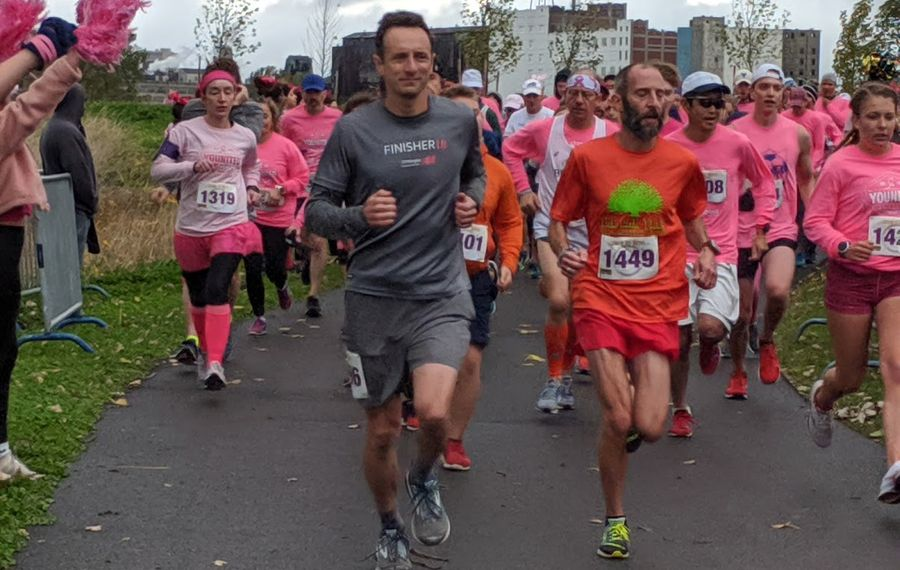 Runners set out on the Making Strides Against Breast Cancer 5K. The run and related events raised $450,000 to support American Cancer Society programs and services. (Photo provided by the American Cancer Society WNY affiliate)