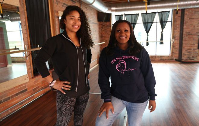 """""""We're giving young women a venue to open up and say what's on their mind."""" says Mercedes Holloway-Wilson, right, head of For Our Daughters; with  Ashley Stewart, owner of F.I.T. Method Studio. (Photo courtesy of For Our Daughters)"""