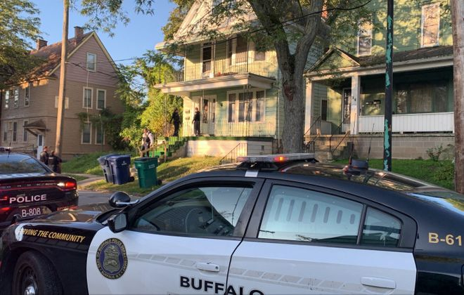Buffalo police and firefighters responded to  a home on Purdy Street the morning of Oct. 9, 2019, where a woman had stabbed her 6-year-old son and then cut herself. (Maki Becker/Buffalo News)