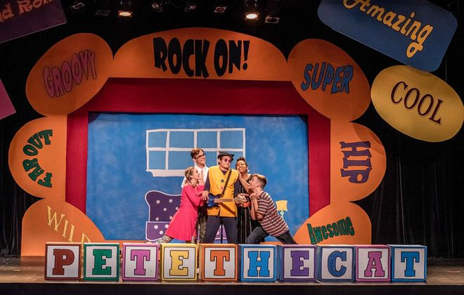 """The energetic and likeable cast of """"Pete the Cat"""" entertains the family in a new production at Theatre of Youth. (Photo courtesy of Christy Francis)"""