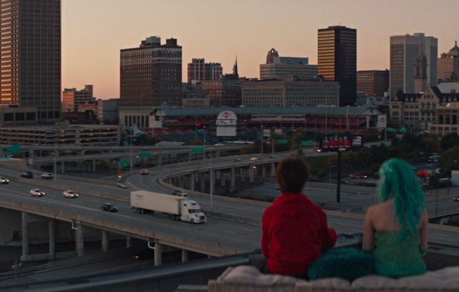 """The Buffalo skyline looks great in this scene from """"The True Adventures of Wolfboy,"""" which has its area premiere at the Buffalo International Film Festival."""