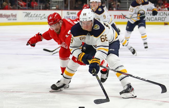 Sabres winger Victor Olofsson tries to drive to the net in front of Detroit's Filip Hronak during the third period (Getty Images).