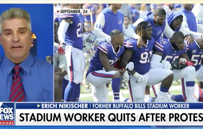 A screenshot of a Fox News interview with Erich Nikischer about him quitting his job because of national anthem protests by members of the Buffalo Bills.