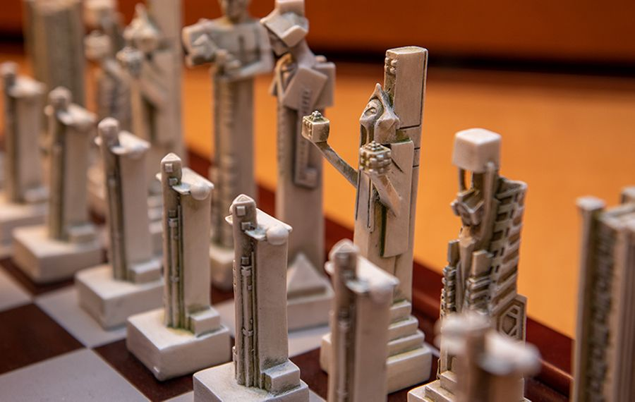 Signature Frank Lloyd Wright touches inspired the design of this chess set at the Martin House. (Matt Weinberg)