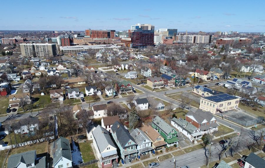 An aerial view of Buffalo's Fruit Belt neighborhood, situated just east of the Buffalo Niagara Medical Campus. (Derek Gee/News file photo)