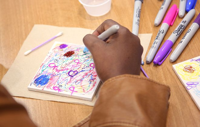 One of art outlets at Roswell Park is crafting vibrant tiles. (Photos courtesy of Roswell Park Comprehensive Cancer Center & Oishei Children's Hospital)