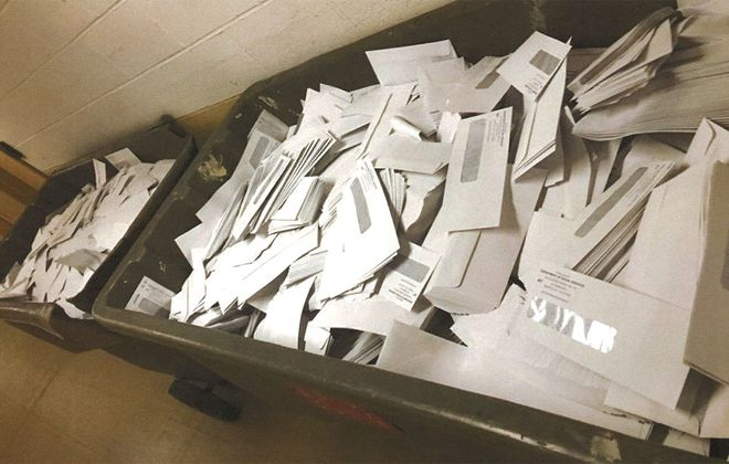 Erie County is recycling an unknown number of Social Services Department envelopes because of a design problem that exposes too much information from the checks enclosed within them. (Photo courtesy Erie County Comptroller's Office)