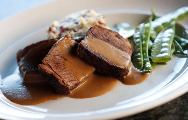 Beef short rib with gravy and snow peas at Soho. (Sharon Cantillon/Buffalo News)