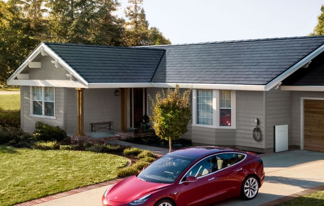 Tesla estimated that a 2,000-square-foot roof made with black tempered glass would cost $33,950 – a price that includes an $8,550 federal tax credit. (Image courtesy of Tesla)