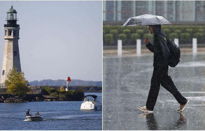 Boaters take advantage of the sunshine Oct. 10. A pedestrian crosses Niagara Square on a soggy Oct. 2. (Mark Mulville/Buffalo News and Sharon Cantillon/Buffalo News)