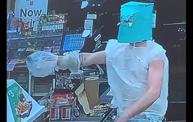 A man police is Andrew J. Patterson is seen in this surveillance photo of an Oct. 7, 2019, Niagara Falls robbery. (Courtesy Niagara Falls Police Department)