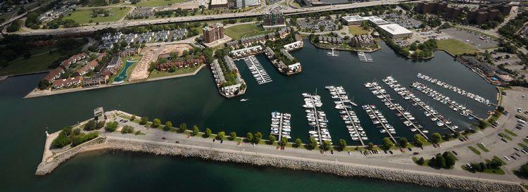 An aerial view of Erie Basin Marina. (Derek Gee/News file photo)