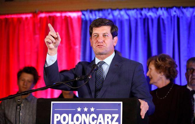Erie County Executive Mark Poloncarz declares victory at Statler City on Nov. 5. (Derek Gee/Buffalo News)