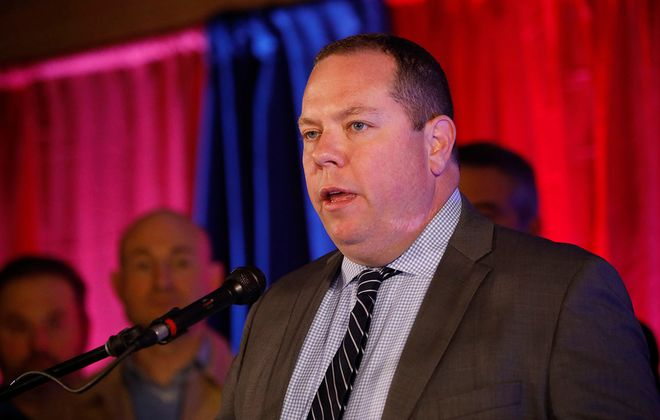 John Gilmour speaks during the Democratic Party's election night celebration at Statler City, Tuesday, Nov. 5, 2019. (Derek Gee/Buffalo News)