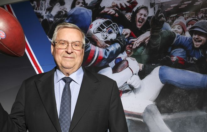 Terry Pegula in the new Bills weight room at the ADPRO Sports Training Center in Orchard Park. (James P. McCoy/Buffalo News)