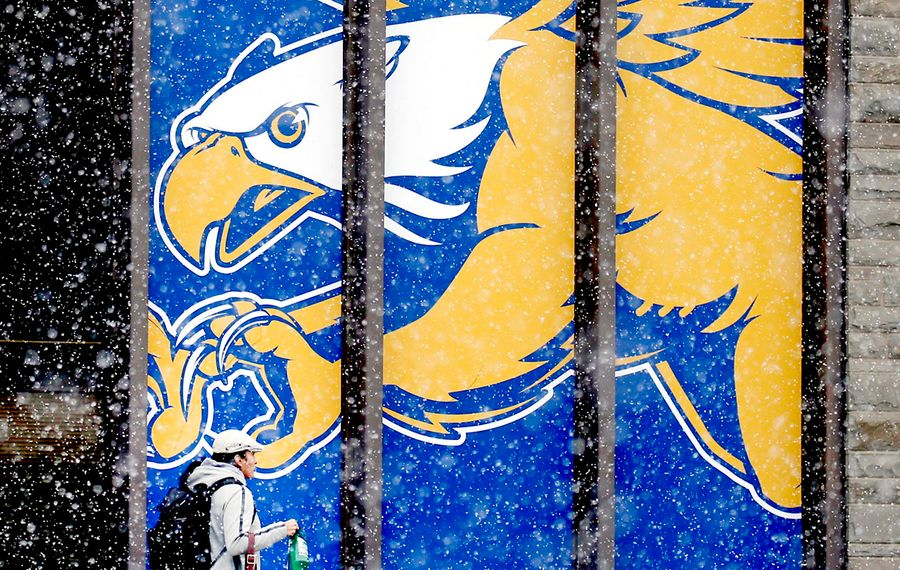 Snowflakes drift past the Canisius College mascot on the Koessler Athletic Center on Nov. 8. Elsewhere in the city, younger students were exuberant at the sight of the snowfall. (Robert Kirkham/News file photo)