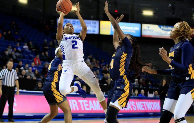 University at Buffalo player Dyaisha Fair shoots against at Alumni Arena on Tuesday, Nov. 12, 2019. (Harry Scull Jr./Buffalo News)