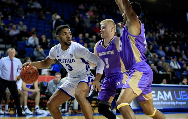 University at Buffalo player Jayvon Graves looks to pass against Nazareth during first half action at Alumni Arena on Nov. 11, 2019. (Harry Scull Jr./Buffalo News)