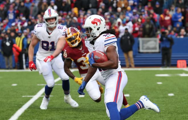 Buffalo Bills wide receiver Andre Roberts (18) breaks a long kick off return against Washington Redskins defensive back Jeremy Reaves (39) in the second quarter at New Era Field in Orchard Park, NY on Sunday, Nov. 3, 2019.  James P. McCoy/Buffalo News