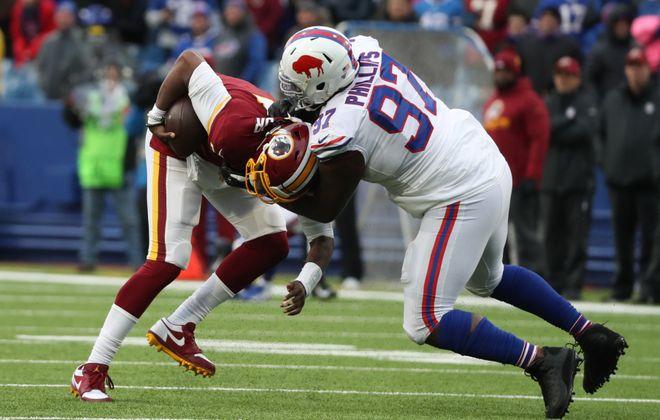 Bills defensive tackle Jordan Phillips has 9.5 sacks this season, second in the NFL at his position. (James P. McCoy/Buffalo News)