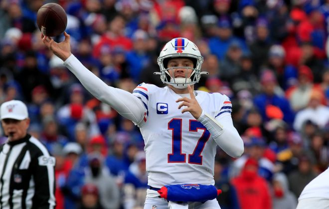 Bills quarterback Josh Allen is among the lowest-rated quarterbacks in the third quarter. (Harry Scull Jr./Buffalo News)