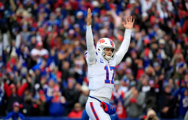 Josh Allen celebrates a pass that was not a touchdown against the Redskins. (Harry Scull Jr./Buffalo News)