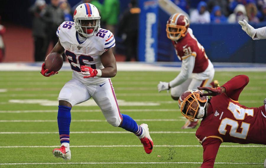 Bills running back Devin Singletary rushes against the Washington Redskins Sunday during the third quarter at New Era Field. (Harry Scull Jr./Buffalo News)