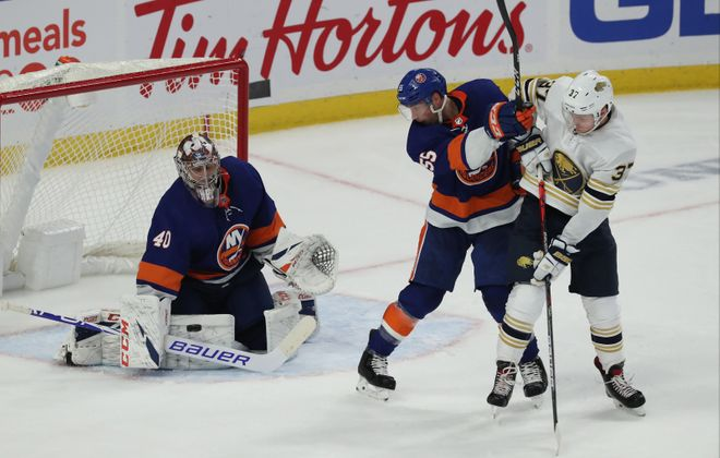 Buffalo Sabres center Casey Mittelstadt (37) shoots the puck on New York Islanders goaltender Semyon Varlamov (40) in the second period at Key Bank Center in Buffalo, NY on Saturday, Nov. 2, 2019.  James P. McCoy/Buffalo News