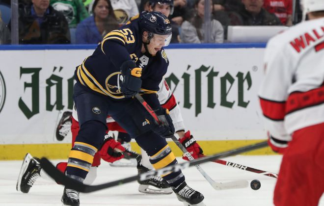 Jeff Skinner has not played on a line with Jack Eichel this season. (James P. McCoy/News file photo)