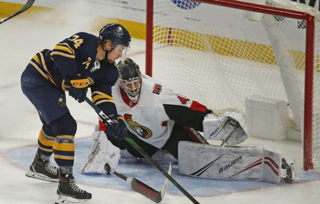 Rasmus Aspland cant get the puck past Ottawa goalie Craig Anderson in the second period during a break away oppurtunity. This was during the Sabres vs. Ottawa game at KeyBank Center in Buffalo on Saturday, Nov. 16, 2019.  (Robert Kirkham/Buffalo News)