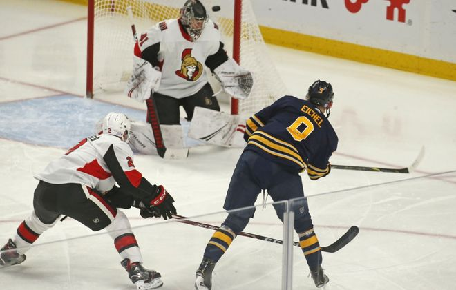 Jack Eichel beats Ottawa goalie Craig Anderson for one of his four goals against the Senators on Nov. 16. (Robert Kirkham/Buffalo News)