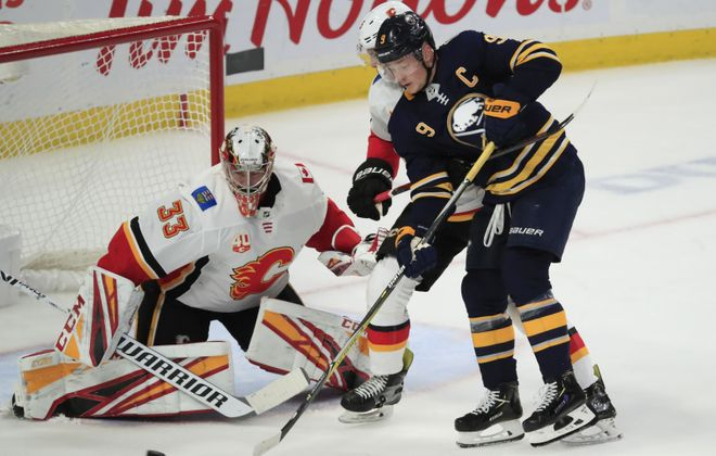 Sabres center Jack Eichel is seventh in the league in points through 31 games.  (Harry Scull Jr./Buffalo News)