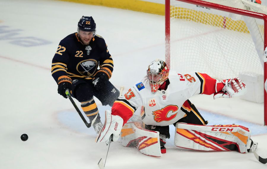 Buffalo Sabres forward Johan Larsson cannot get a Calgary Flames rebound during the third period at the KeyBank Center on Wednesday, Nov. 27, 2019.  (Harry Scull Jr./Buffalo News)