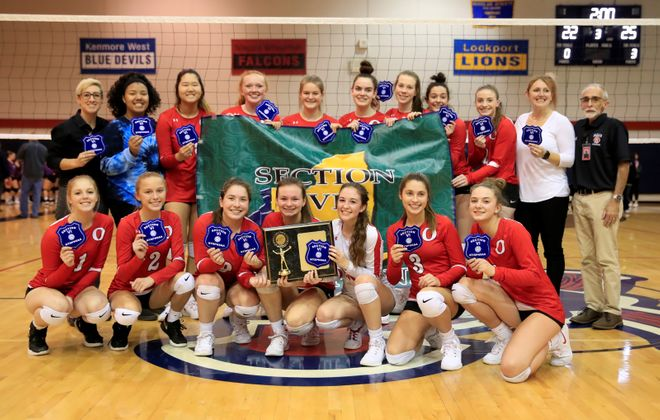 Olean's girls volleyball team won the Class B-2 title over Springville in straight sets Wednesday. (Harry Scull Jr./Buffalo News)