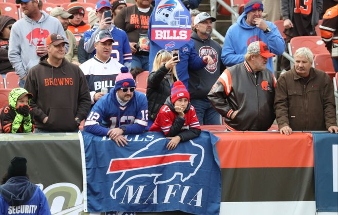Bills fans are seen before the game at FirstEnergy Stadium in Cleveland. (James P. McCoy/Buffalo News)