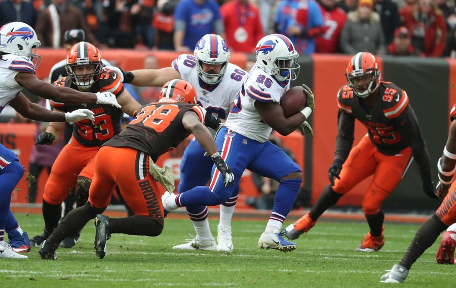 Bills running back Devin Singletary did not play in the first meeting against the Patriots. (James P. McCoy/Buffalo News)