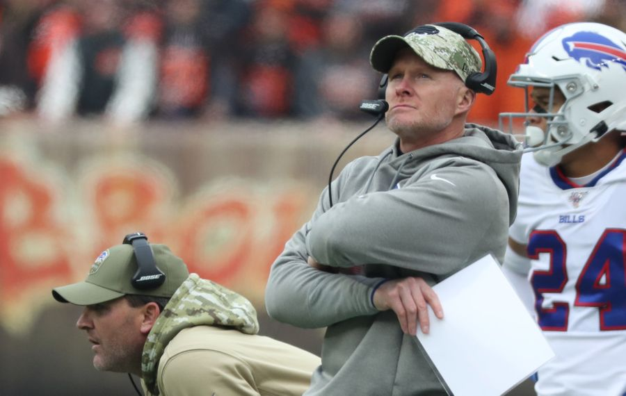Bills coach Sean McDermott elected to have his players practice in sub-freezing temperatures for their game at Miami Sunday. (James P. McCoy/Buffalo News)