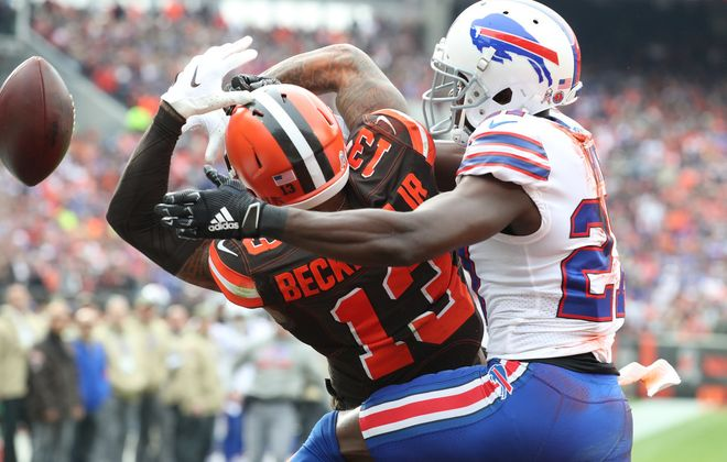Bills cornerback Tre'Davious White breaks up a pass intended for Cleveland Browns wide receiver Odell Beckham Jr. (James P. McCoy/News file photo)